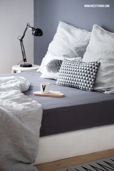 Nicest Things: Bedroom Boxspring Bed Grey Wall Linen Sheets // Snug Studio / Design Letters / Ferm Living / Bloomingville
