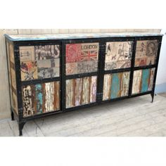 LARGE INDUSTRIAL DESIGNER EUROPEAN SIDEBOARD Countless hours went into the creation of the Large Industrial Designer European Sideboard. The limited release print was designed in Europe and the frame has been made from a mixture of solid iron and exotic mango wood.