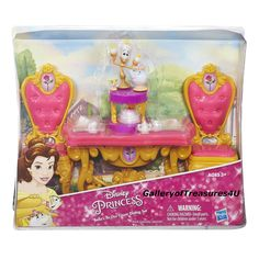 "Disney Princess BELLE'S BE OUR GUEST DINING SET Furniture Playset for 12"" Doll #Hasbro"