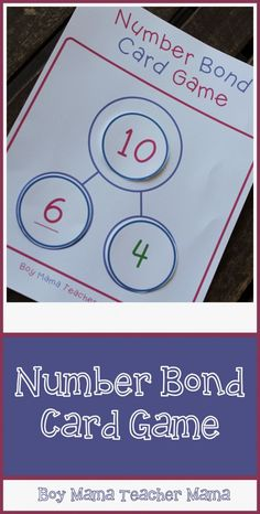 Boy Mama Teacher Mama: Number Bond Card Game
