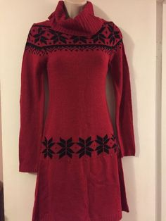 Holiday Winter Christmas Red Wool Dress Planet Gold Fit And Flare Size Medium  | eBay