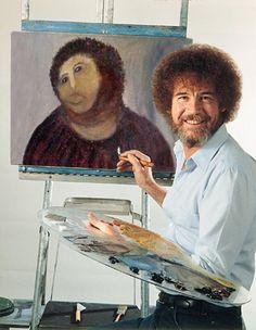 Funny or Die - Bob Ross Ecce Homo Jesus Painting Bob Ross, The Joy Of Painting, Jesus Painting, Catholic Memes, Catholic Religion, Fresco, Art History, Cool Photos, Beast