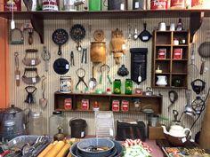 Graniteware, vintage utensils and spice tins
