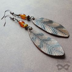 Owl Feather Leather Earrings With Carnelian Agate by beadmask, $26.00