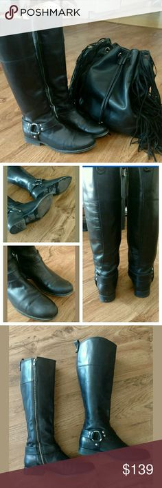 Frye Melissa Harness Black Leather Boots See last picture for details. Purchased for $435. In great condition. Have been worn, a signs of normal wear/ creasing from stepping. These boots are gorgeous, definitely complete any outfit! Frye Shoes