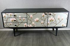 60's retro vintage teak sideboard upcycled in cole & son decoupage magnolia