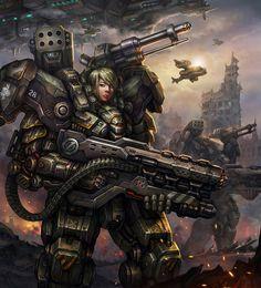 "UNSC ""Jotun"" Heavyarms-Type Powered Assault-Frame w/ shoulder missilepod/Autocannon & MAC-MG/ Spartan-Laser by AlienTan on DeviantArt."