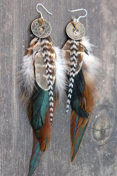 Feather Earrings Star of David Earrings Coin Earrings. $42.00, via Etsy.