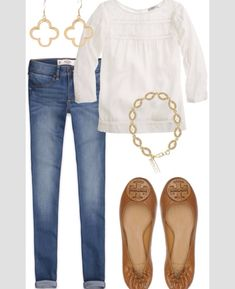 I like the very simple style. The blouse might look a little shapeless - I'd like a little more definition.