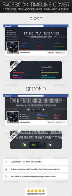 Two Freelance Designer Timeline Covers  #GraphicRiver          Two Freelance Designer Facebook Timeline Covers   High quality timeline covers for your Facebook profile. Now you can change your boring cover into an ad. Get hired now! The files are easy to use.      .psd file with the two covers used as seen in the image preview                 Read Me file for instructions on changing color and size on your skills and what free fonts are used, etc.                                 …