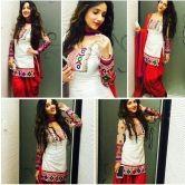 Free Shipping Patiyala Special Gorgeous White&red Salwar Suit