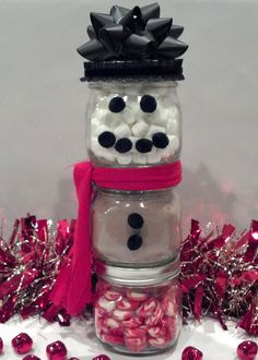 Snowman hot chocolate Ball jars
