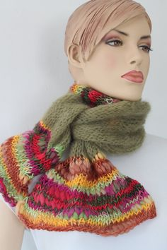 Long  Hand Knitted Olive Multicolor Scarf - Mohair Hand Spun Yarn -  Fall Fashion