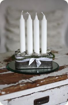 ♕ love this candle arrangement ~ simple and pretty
