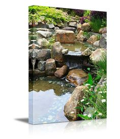 """Canvas Prints Wall Art - Relaxing Pond with Waterfall 