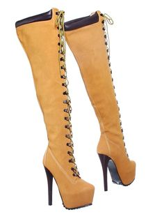 Jaylo-28 Stiletto Heel Almond Toe Lace up Thigh High Boot (10, camel) [Apparel]