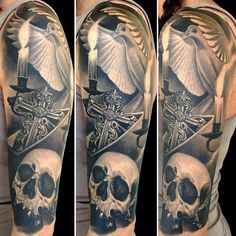 Skull sleeve tattoo by Nikko Hurtado
