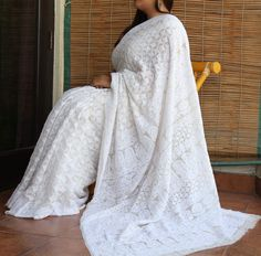 Chikankari pure georgette saree with gold mukaish...an ivory dream!!! A summer poetry!!!