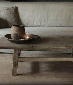 Oud houten Salontafel Elmwood 1
