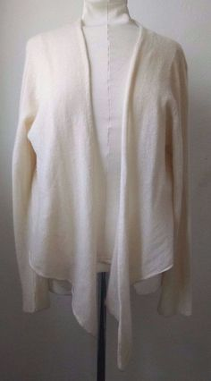 Garnet Hill Cashmere Cardigan Sweater XL Ivory White High Low Wrap Open Face #GarnetHill #Cardigan #Casual