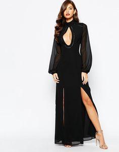 Jarlo Waverley Long Sleeve Maxi Dress With Keyhole Detail Black UK 14/EU 42
