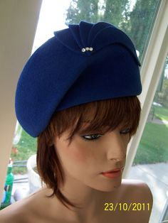 Vintage womens felt hat  royal blue by Mr John Moderne by sewalike, $48.00
