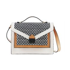 Loeffler Randall Rider Bag White and natural leather/Diamond woven... ($385) ❤ liked on Polyvore featuring bags, handbags, shoulder bags, crossbody handbags, shoulder strap bag, accessories handbags and cross body shoulder bags