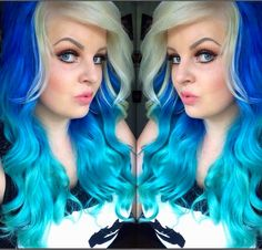 Beautiful blue and turquoise color melt with a capping of platinum white by Bethany's Salon, Ireland #hotonbeauty facebook.com/hotbeautymagazine