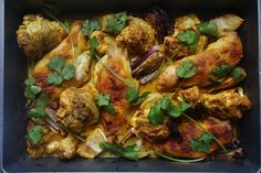 Tandoori roasted cauliflower and chicken bake for Country Life magazine by www.melathome.com