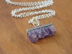CIJ Small / Tiny Amethyst Slice Necklace with by MalieCreations, $24.64