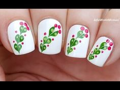 MARBLE FLOWER NAIL ART Using Dotting Tool & Needle - YouTube