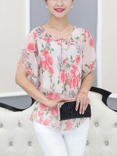Camiseta de gasa de manga corta estampada con flores casual para mujer - NewChic Móvil