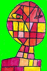 Abstrakt portræt ala Klee. Via siden her kan hentes billedkunst ideer ved at klikke tilbage til Arts ViSuel Ecole!