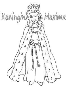 koningin maxima kleurplaat Disney Coloring Pages, Printable Coloring Pages, Colouring Pages, Royal Craft, King Birthday, Kings Day, Box Art, Holland, Aurora Sleeping Beauty