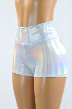 Flashbulb Holographic High Waist Shorts
