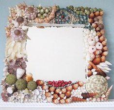 Beach Decor Original Seashell Mirror by beachgrasscottage on Etsy Seashell Frame, Seashell Art, Seashell Crafts, Beach Crafts, Seashell Projects, Shell Decorations, Handmade Mirrors, Mirror Mosaic, Beach Art