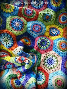 The End of the Never-Ending Blanket - WoolnHook by Leonie Morgan Crochet Hexagon Blanket, Crochet Bedspread, Crochet Motif, Crochet Patterns, Crochet Ideas, Paper Embroidery, Afghan Patterns, Fabric Crafts, Crochet Projects