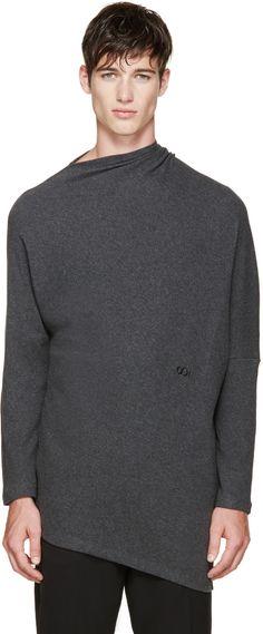 Thamanyah Grey Draped Brushed Cotton T-Shirt