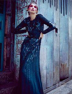 Asia Papkova by Steven Cheung for Harper's Bazaar Hong Kong January 2015 elie saab
