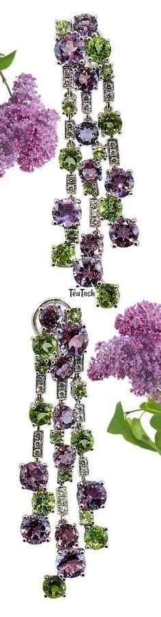 Téa Tosh Peridot Amethyst Diamond White Gold Chandelier Earrings #WhiteGoldJewellery
