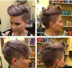 Short and shaved hair Short Sides Haircut, Side Haircut, Short Hair Cuts, Pixie Cuts, Short Pixie, Asymmetrical Pixie, Edgy Hair, Trendy Hair, Funky Hairstyles