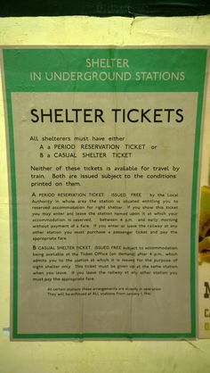 Instructions for people using a Tube station as an air-raid shelter.