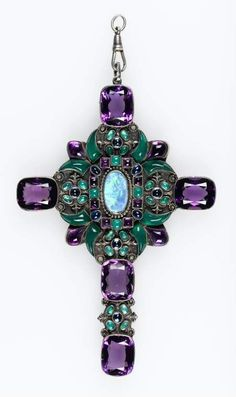 Sibyl Dunlop An Opulent Double Sided Pectoral Cross Silver Opal Chalcedony Amethyst Sapphire Or Antique, Antique Jewelry, Jewelry Accessories, Jewelry Design, Horseshoe Necklace, Templer, Cross Jewelry, Religious Jewelry, Metal Necklaces