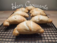 Ham croissants - from Lunchblocks Ham And Cheese Croissant, Crescent Dough, Frozen Spinach, Croissants, Bakery, Goodies, Snacks, Cooking, Sweet