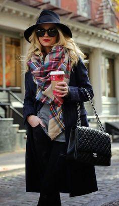#winter #fashion tartan + noir