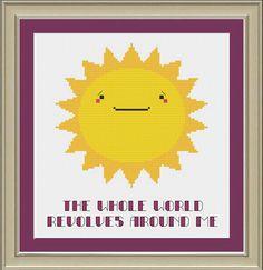 Cute sun cross stitch pattern