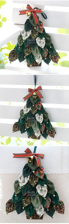 "another way to use the folded fabric ""leaves"" instead of a wreath"
