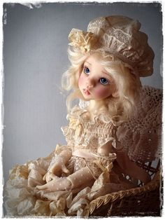 Vintage Silk & Lace OOAK Dress Set For MSD BJD - Kaye Wiggs Or Other