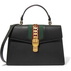 Gucci Sylvie medium chain-embellished leather tote (€2.295) ❤ liked on Polyvore featuring bags, handbags, tote bags, gucci, black, striped tote bag, gucci purse, leather purses, handbags totes and leather tote