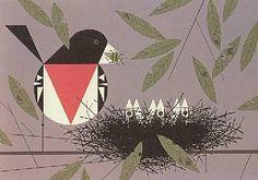 "Charlie Harper Serigraph, ""Rose-breasted Grosbeak"""